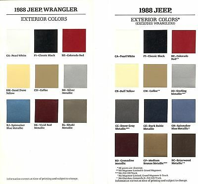 1988 Jeep & Jeep Wrangler Factory Paint Chip Brochures