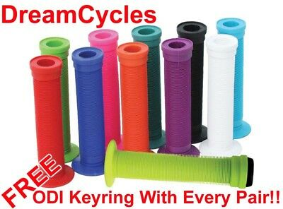ODI Longneck ST BMX Grips + Bar Plugs + Keyring (NEW) Mushroom 143mm All Colours
