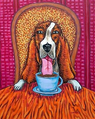 Basset Hound at the Coffee Shop dog art print 8x10