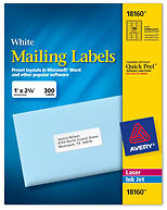 Avery Labels - 8160, self adhesive address labels - 30 labels per sheet