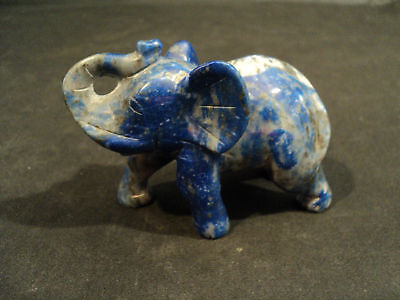 Hand Carved Lapis Good Luck Trunk Up Elephant Figurine