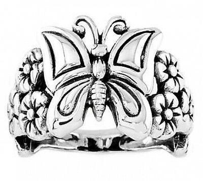 Silver New Life Antique Butterfly with Daisy Ring