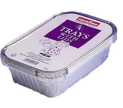 12 x Baking Aluminium Foil Dish Trays Hot Food Curry Container With Lids 04
