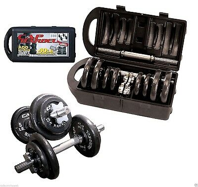 CAP Barbell 40 Pound Adjustable Ergonomic Grips Dumbbell Set with Case