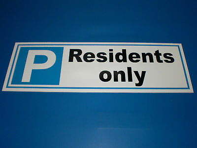 Residents Only Car Parking Semi-Rigid Plastic Sign 300mm x 100mm Silk Screened