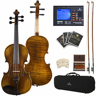 "Cecilio CVA-600 Viola Size 15"" 15.5"" 16"" 16.5"" Ebony Fitted Highly Flamed"