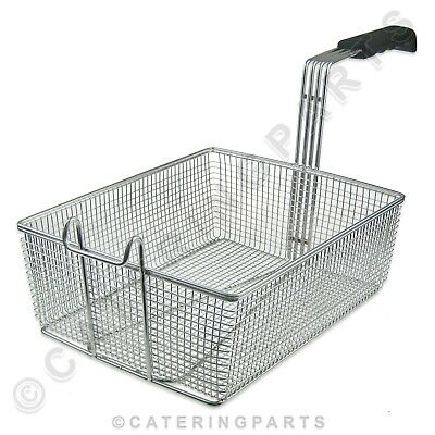 UNIVERSAL LARGE CHIP FRYER BASKET METAL WIRE FRONT HOOK 335mm x 270mm x 120mm