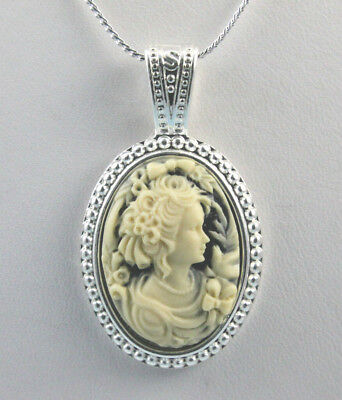 "Ivory on Black Victorian Lady with Bows Cameo Pendant 18"" Chain Silver Plated"