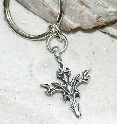 GOTHIC CROSS BIKER PAGAN Pewter KEYCHAIN Key Chain Ring