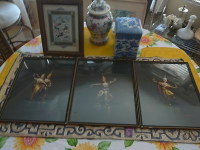3 Beautiful Artist Signed Siam Dancer Paintings
