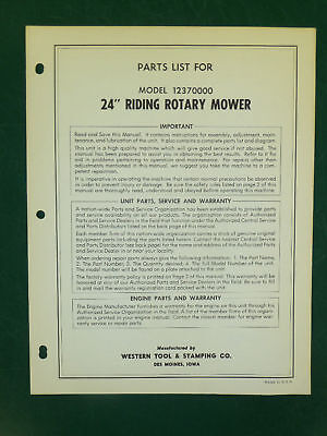 """Amf Western Tool 24"""" Riding Mower Parts Manual 12370000"""