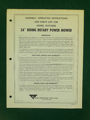 """Amf Western Tool 24"""" Riding Mower Parts Manual 12370200"""