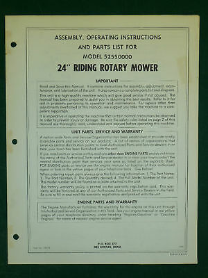 """Amf Western Tool 24"""" Riding Mower Parts Manual 52550000"""