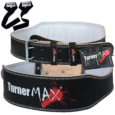 TurnerMAX Leather Weight Lifting Belt Power Back Support Gym Fitness Training
