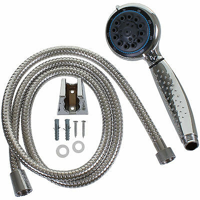 ABS Chrome effect Shower Head 1.5M Hose Wall Bracket And Fittings 8 Jet Function