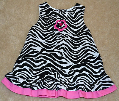 Rare Editions girls dress zebra pink ruffle 18mos baby CUTE! boutique