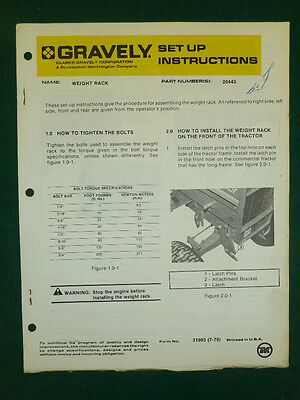 Gravely Weight Rack Operator Manual Set-Up Instruction