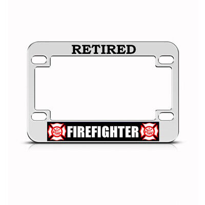 FIRE FIGHTER WIFE Black Motorcycle Bike Metal License Plate Frame Tag