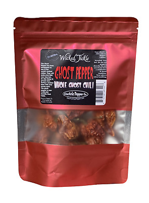 Ghost Pepper Seed Pods Whole Dried Wicked Tickle Chili Peppers 10 +2 Free Hot