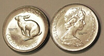 Canada 1967 5 cents Nice UNC Five Cents Canadian Nickel