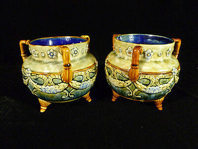 Pair Early 1900 Royal Doulton Three Handled Footed Urns