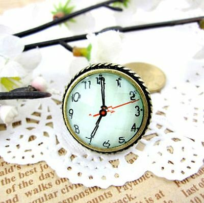 Lovely vintage style bronze flower resin clock / watch ring