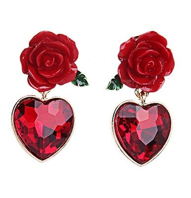 Red rose with dangling red crystal heart stud earrings