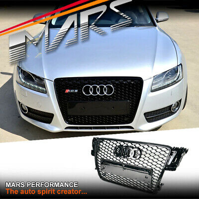 Gloss Black Honeycomb RS5 Style Front Bumper Grille Grill for AUDI A5 8T 08-12