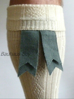 Kilt Hose Sock Flashes Weathered Blue Double Ribbon Wool Highlandwear For Kilts