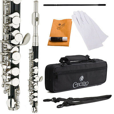 Cecilio PO-280N C Piccolo ~Ebonite Body with Nickel Plated HeadJoint & Keys+Case