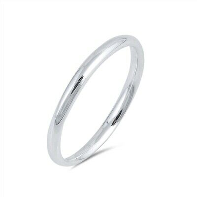 .925 Sterling Silver Bridal Wedding Band Promise Ring 2mm Thick Size 3 to 11 NEW