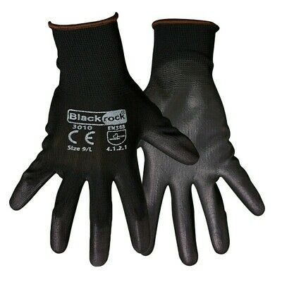 5xPair Of Blackrock Lightweight Grip Black Nylon PU Safety Work Gloves 84301 LR