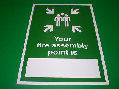Your Fire Assembly Point Is A5 Self-Adhesive Sticker Emergency Evacuation