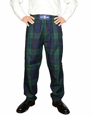 New Mens Black Watch Scottish Tartan Casual/ Golf Trousers  S/M & L/XL