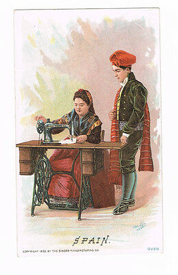 Singer Manufacturing Co Sewing Machine SPAIN-Barcelona Victorian Trade Card 1892