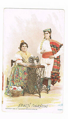Singer Manufacturing Co. Sewing Machine SPAIN Valencia Victorian Trade Card 1892