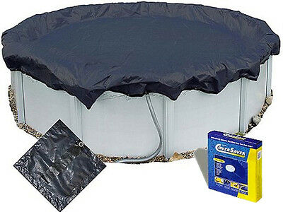12 Ft Round Above Ground Swimming Pool Winter Cover & Ratchet 12Ft + Cover Saver