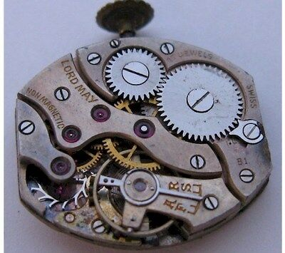 used Peseux 160 watch & dial movement 17 jewels for parts ...