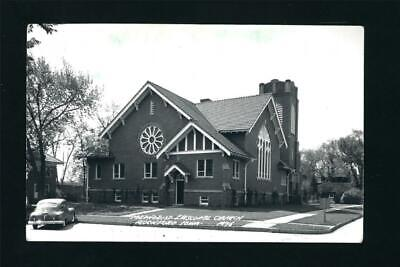 Rockford Iowa IA 1940s RPPC Brick M E - Methodist Episcopal Church on the Corner