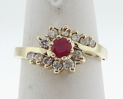 Estate Natural Ruby Diamonds Solid 14k Yellow Gold Ring