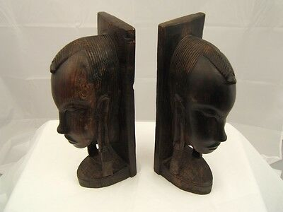Hand Carved Ebony Sculpture - Tanzania Bookends - Matched Pair - Excellent !!