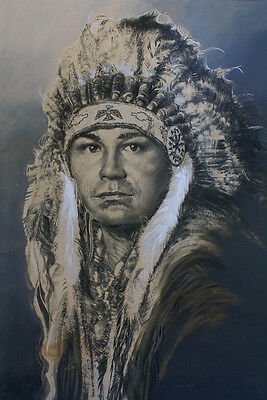 BIG Native American Indian Chief Western Art Acrylic Painting Signed Kent Butler