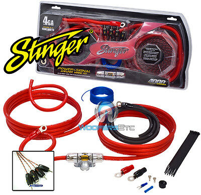 Sk4641 Stinger 4 Gauge 4000 Amp Power Amplifier Wire Complete Installation Kit