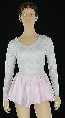 Girls White Lace/Holo/Pink Skirt Dance Costume, Girl's Cal Cheer Skating Leotard