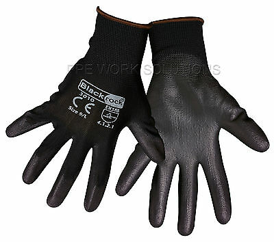50 x Pairs Of Blackrock Lightweight Grip Black PU Safety Work Gloves (84301)