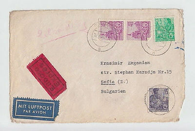 DEUTSCHE LUFTPOST GERMANY DDR TO BULGARIA 1959 COVER PIRNA STAMPS AIRMAIL #58 »