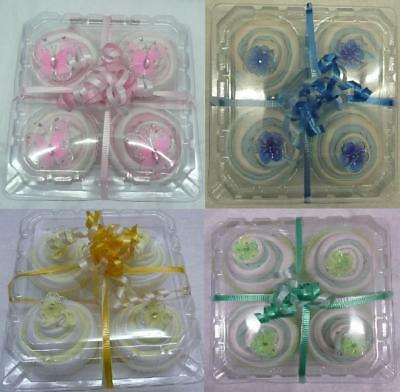 4x Facewasher Cupcakes Baby Shower Present Pink, Blue, Yellow & Green Gift