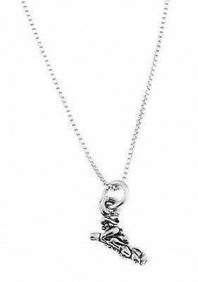 Sterling Silver Small Witch Flying On Broom Charm With Box Chain Necklace