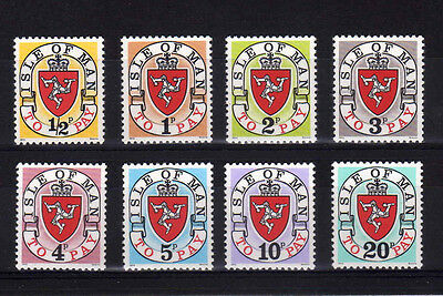 Isle Of Man 1973 Postage Dues Set Without 'a' D1-D8 Mnh.