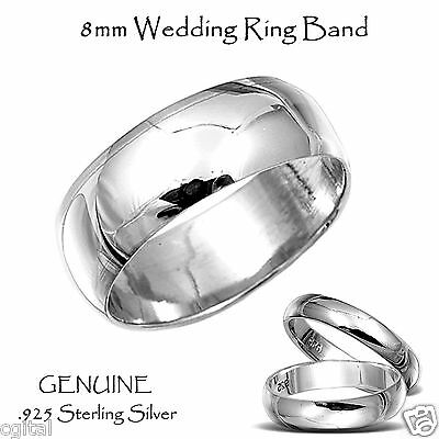 Wedding Ring Band - Rounded Design Genuine Sterling Silver - 8 mm - Sizes 5 - 15